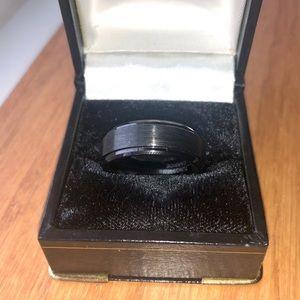 8mm Tungsten Carbide Black Wedding Band Size 10